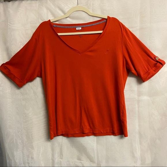 🏝BOGO🏝Nautica orange short-sleeved top
